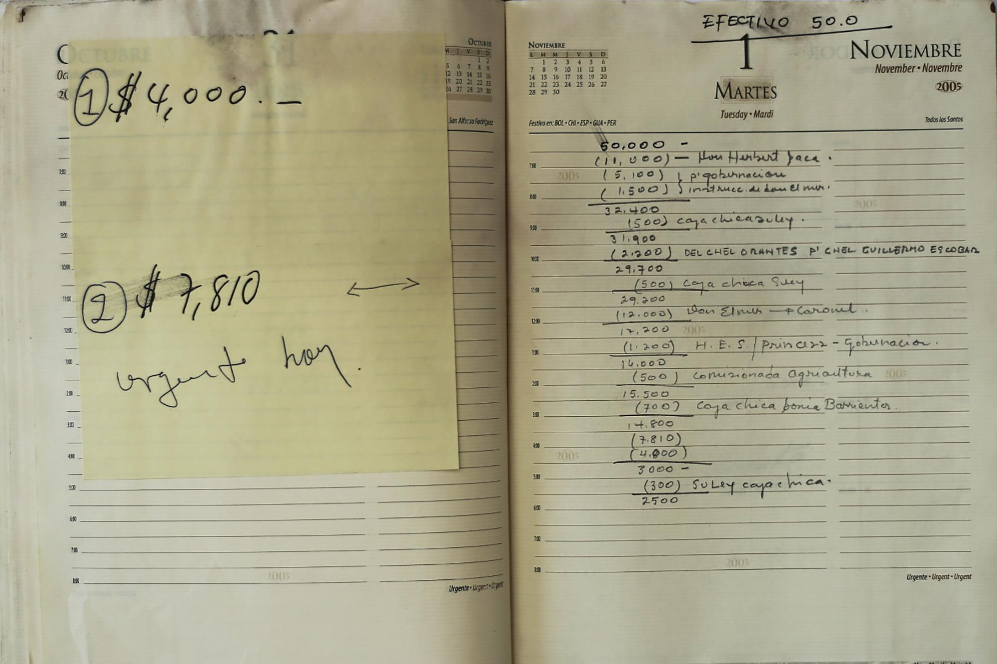 Esta agenda, escrita de puño y letra por un funcionario de la administración Saca, se llevaba la contabilidad paralela del año 2005 de la administración Saca. El 1 de noviembre de ese año, por ejemplo, se registra el nombre de Herbert Saca: