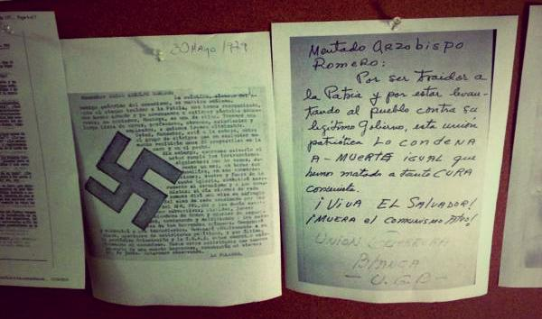 Copies of two death threats received by Monsignor Romero during his three years of archbishopric. One, signed by the