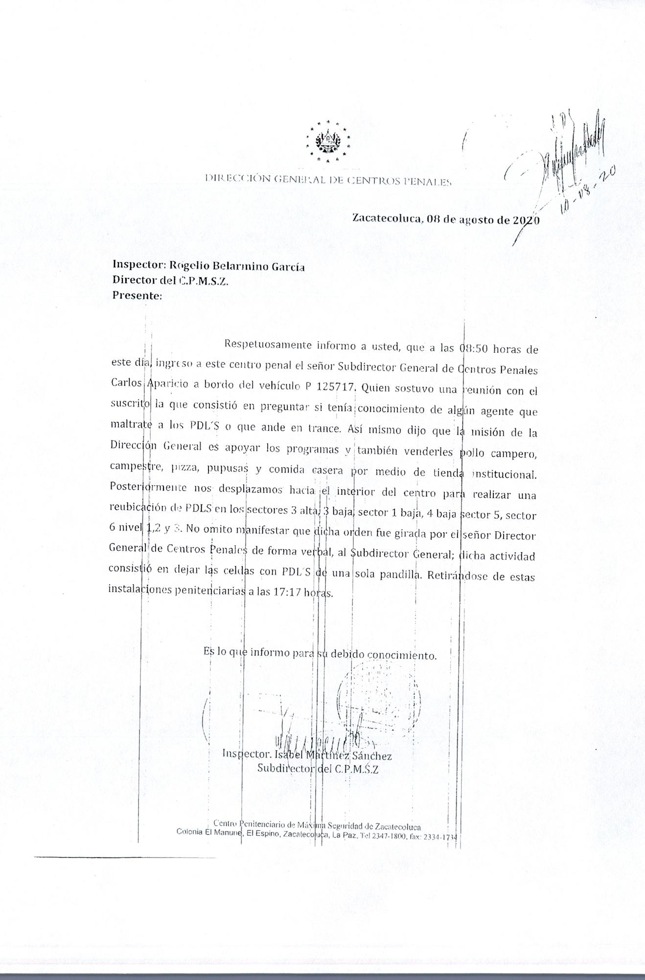 In this memorandum the maximum-security facility Zacatecoluca deputy warden states that Osiris Luna himself ordered the reversal of the decision to merge the cell blocks of opposing gangs and to return to the norm of gang-based segregation within the facilities. A source within Centros Penales, the prison administration headed by Luna, confirmed to El Faro that the reversal had been instituted across all prisons housing gangs.