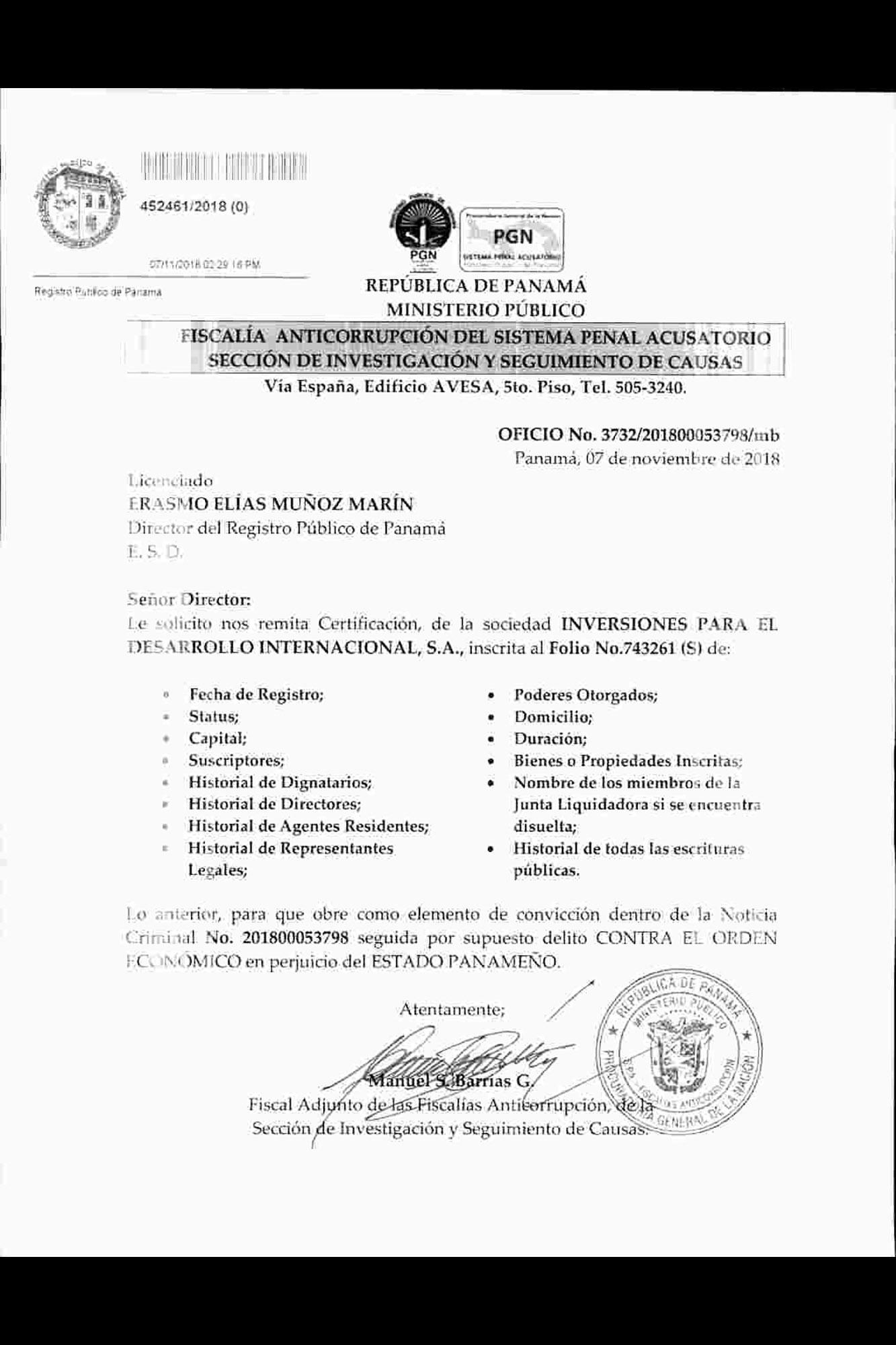 Este es uno de los dos oficios que el Ministerio Público envió al Registro Público de Panamá, en el cual solicita a detalle información de empresas relacionadas con Alba Petróleos.