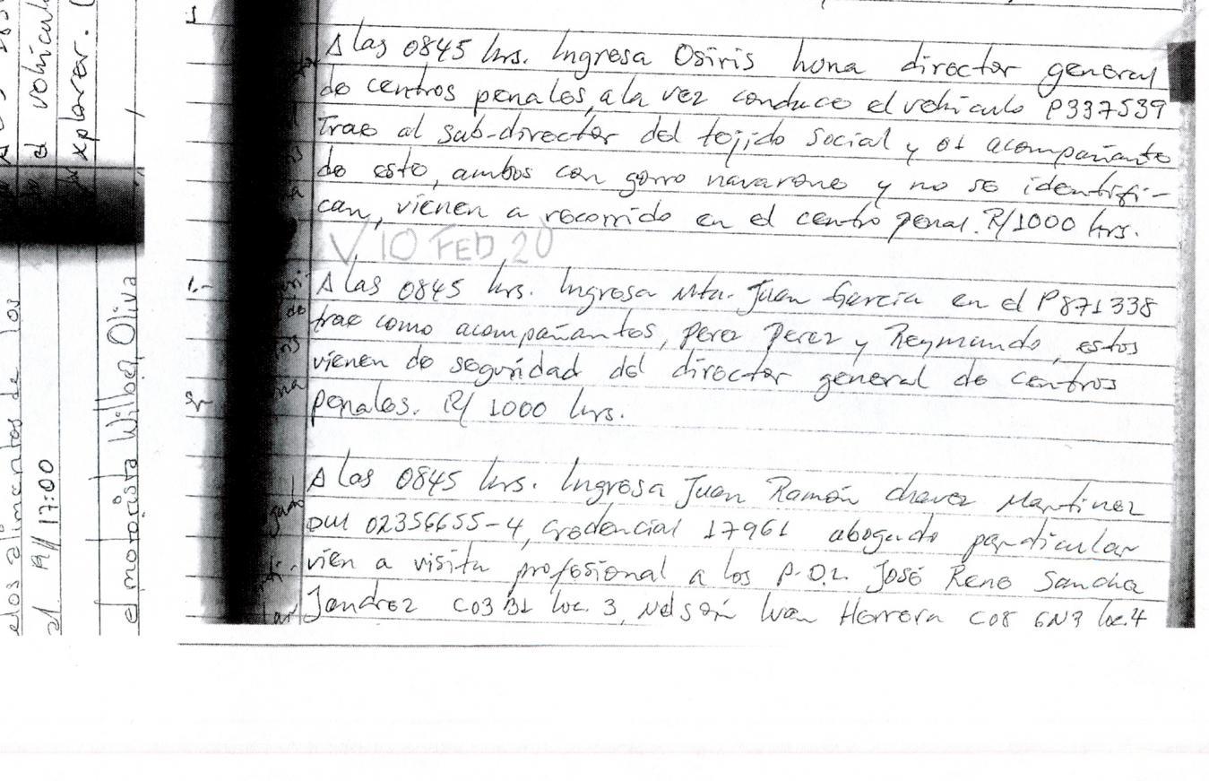 """10 de febrero de 2020: de 08:45 a 10:00 en Zacatecoluca. Apareció de nuevo el subdirector de Tejido Social, Bermúdez. Se infiere, por la forma en que está redactado el informe en el libro de novedades, que el custodio reconoció al funcionario a pesar de que este utilizó navarone. Ingresaron a las 8:45 de la mañana en el vehículo P337-539, conducido por Luna. Luego, se lee: """"con el subdirector del Tejido Social y acompañante de este, ambos con gorro navarone y no se identifican. Vienen a recorrido en centro penal""""."""