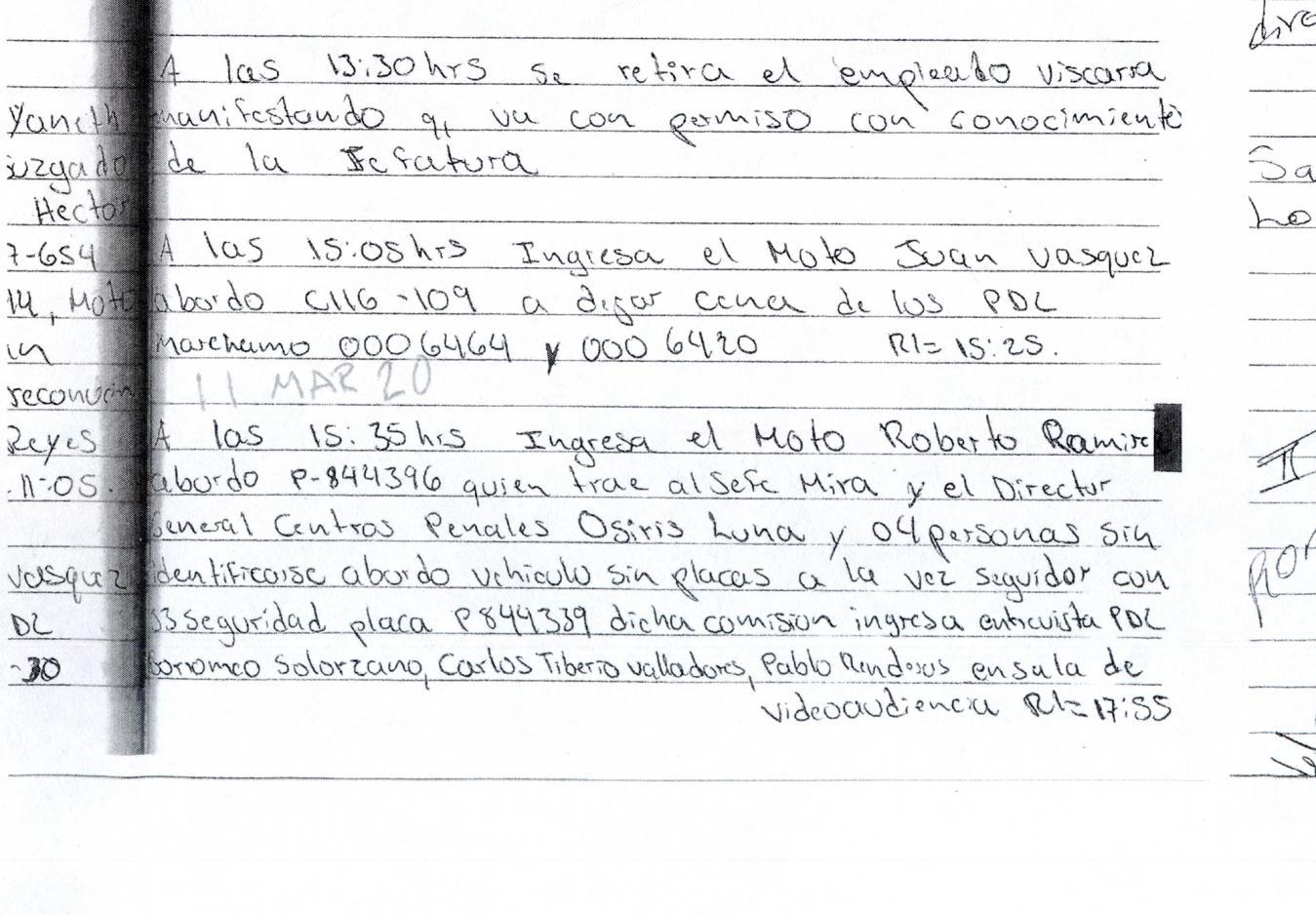 """11 de marzo de 2020: de 15:35 a 17:55 en Zacatecoluca. Luna estuvo dentro del penal de Zacatecoluca con una nueva comitiva donde también iba el entonces subdirector Élmer Mira, removido a finales de julio sin que se diera ninguna justificación pública de su despido. Luna y Mira llegaron en un carro de Centros Penales, mientras que """"cuatro personas sin identificarse"""" entraron en un vehículo sin placas. Los libros registran que en esa ocasión la comitiva ingresó a la sala de videoaudiencias a conversar con Diablito, Snyder y Pablo Renderos. El Faro constató en archivos penitenciarios que en Zacatecoluca guarda prisión Pablo Antonio Renderos Cruz, el Bad Spirit o Gato de la clica de Iberias, condenado a 35 años en 2007 por el Juzgado Cuarto de Sentencia en un caso de agrupaciones ilícitas y homicidio simple."""