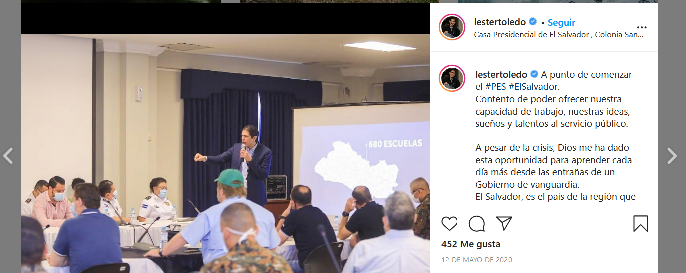 In May 2020, Toledo presented at a government cabinet event attended by the heads of the institutions responsible for purchasing, importing, and distributing the Bukele government's food basket program. Screenshot of Lester Toledo's Instagram account.