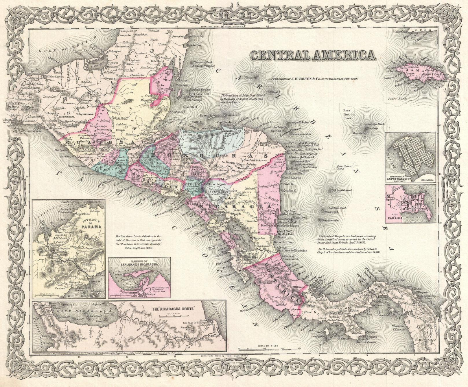 "Mapa histórico de Centroamérica. ""Central America"" en  Colton's Atlas Of The World, Illustrating Physical And Political Geography . George W. Colton. (London: Trubner And Company, 1856), página 55."