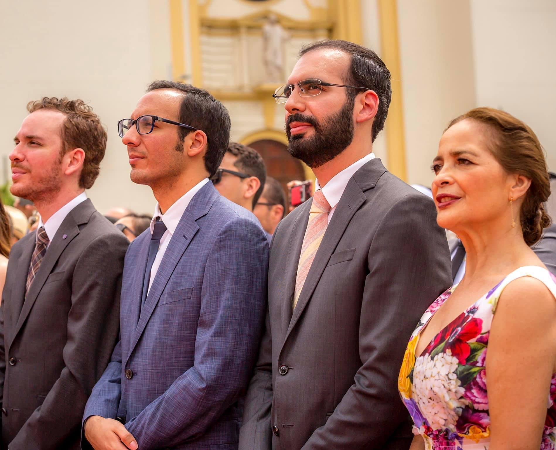 Nayib Bukele's mother, Olga Ortez, and his brothers Karim, Ibrajim and Yusef (from right to left) at the president's inauguration on June 1, 2019. Photo available on Karim Bukele's Facebook page.