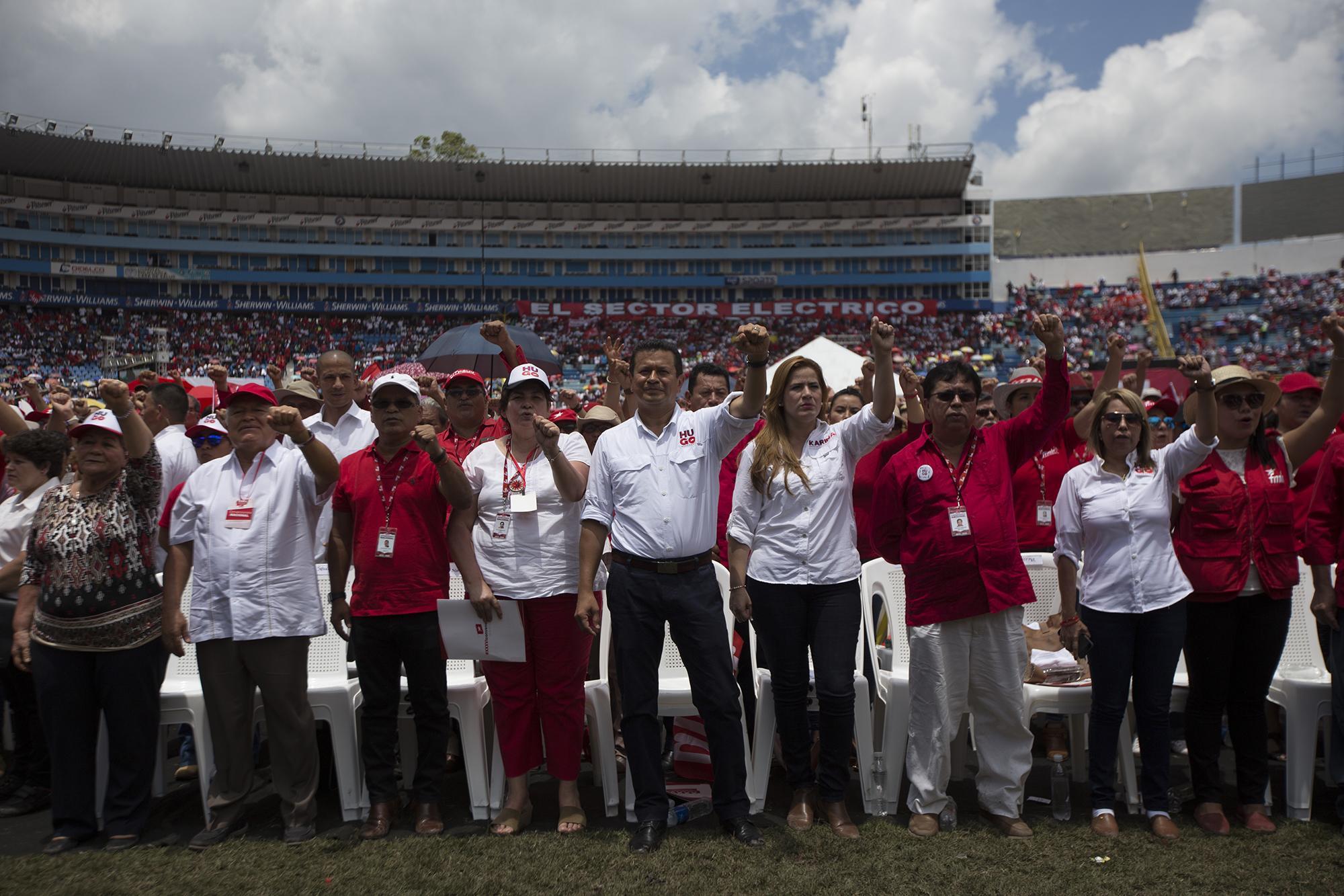 Dirigentes del FMLN durante la XXXVI conveción del partido. Foto Fred Ramos (El Faro).