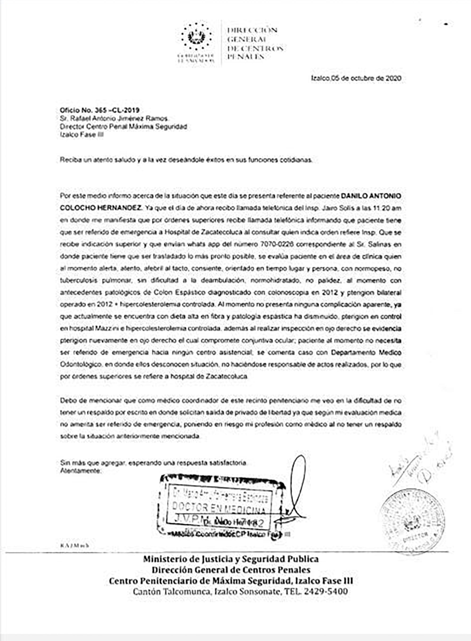 Oficio del doctor Herrera dirigido al director del penal de Izalco Fase III, certificando que Chino Milo se encontraba sano cuando se ordenó sacarlo de emergencia al hospital de Zacatecoluca, a 128 kilómetros del penal.