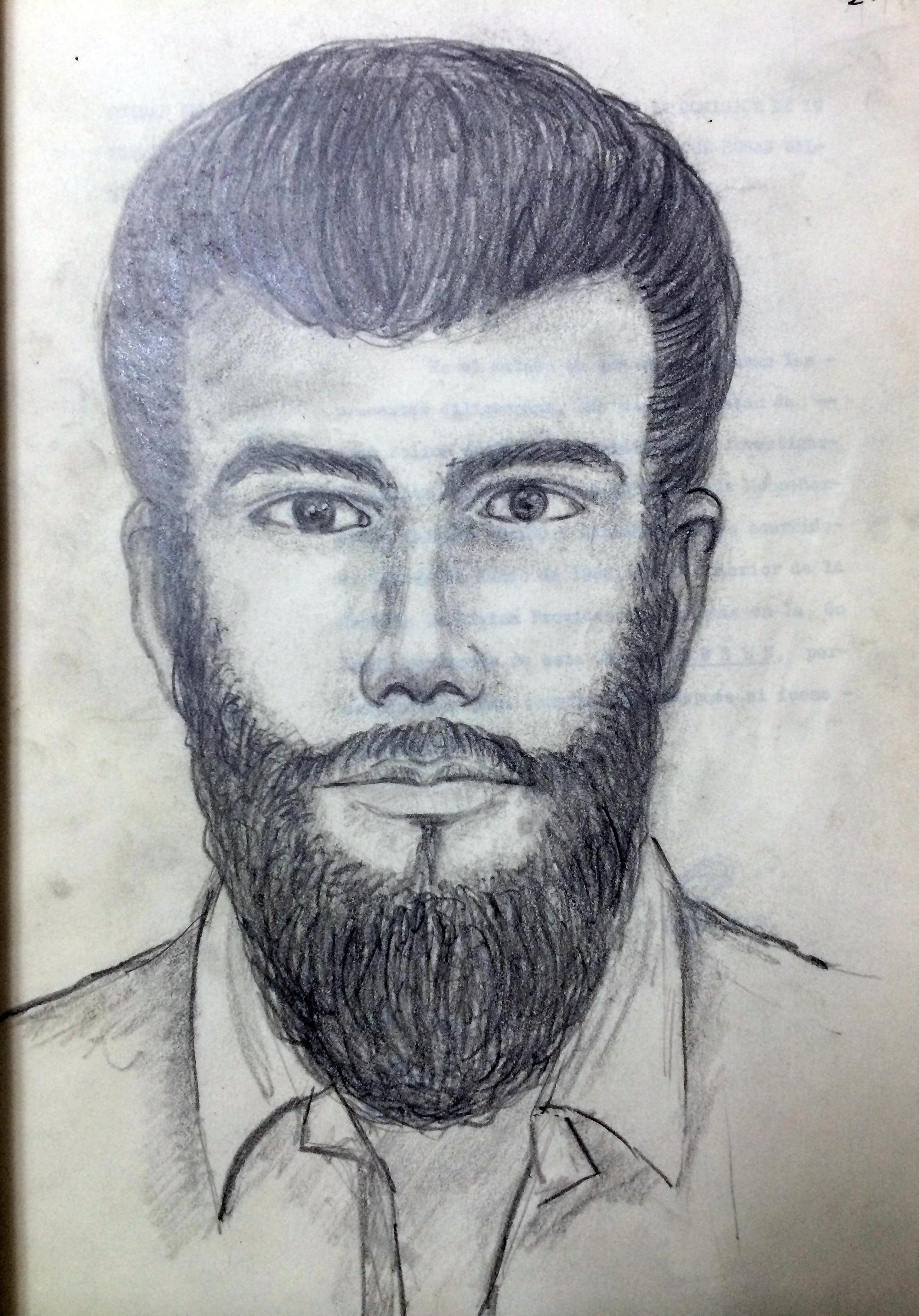 Sketch drawn from recollections of witnesses of the alleged assassin, who shot Monseñor Romero from outside the Divine Providence chapel. Photo from El Faro's archive.