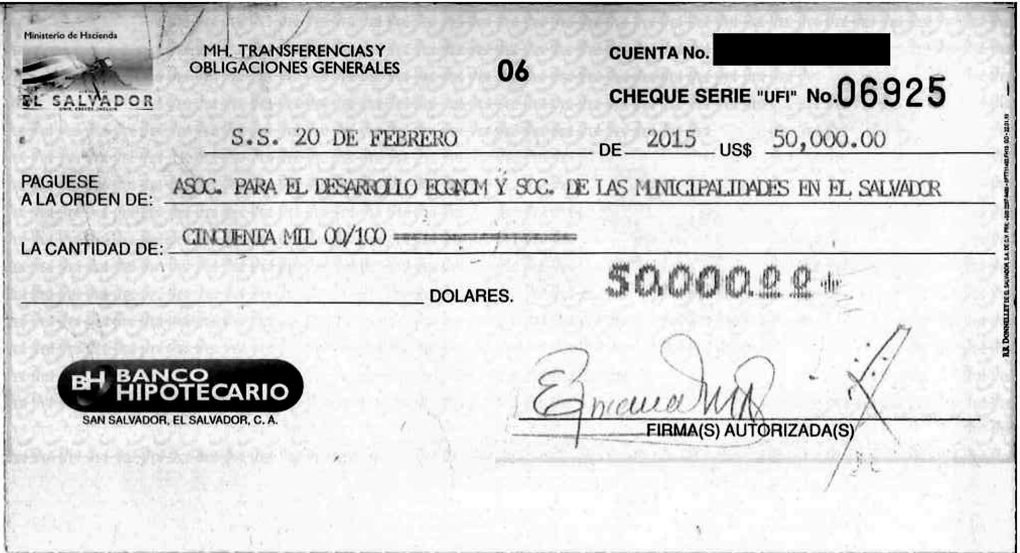 El segundo cheque para la asociación fundada por la esposa del diputado Gallegos también fue entregado a la actual presidenta de la junta directiva de Apdemes, Ana Dolly Valiente, asesora del diputado Gallegos. Fuente: cheque entregado por el Ministerio de Hacienda a través de la ley de acceso a la información pública.