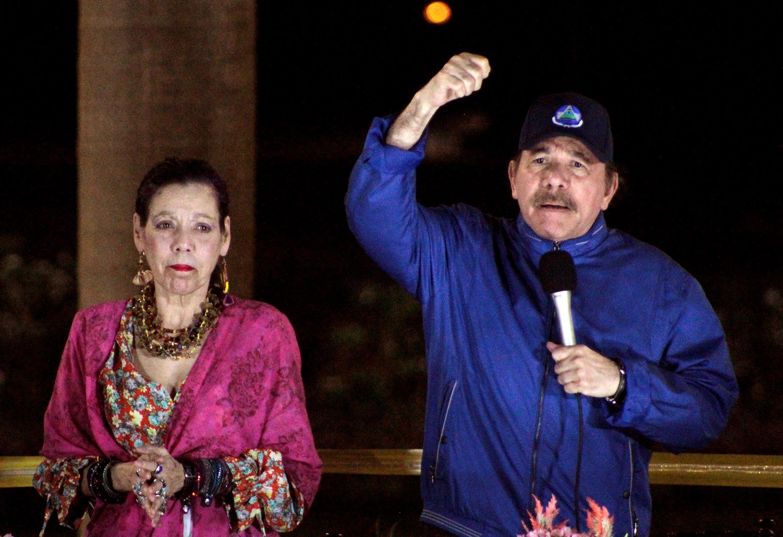 El presidente Daniel Ortega junto a su esposa y vicepresidenta, Rosario Murillo, en un evento en Managua, el 21 de marzo de 2019. Foto de Maynor Valenzuela / AFP.