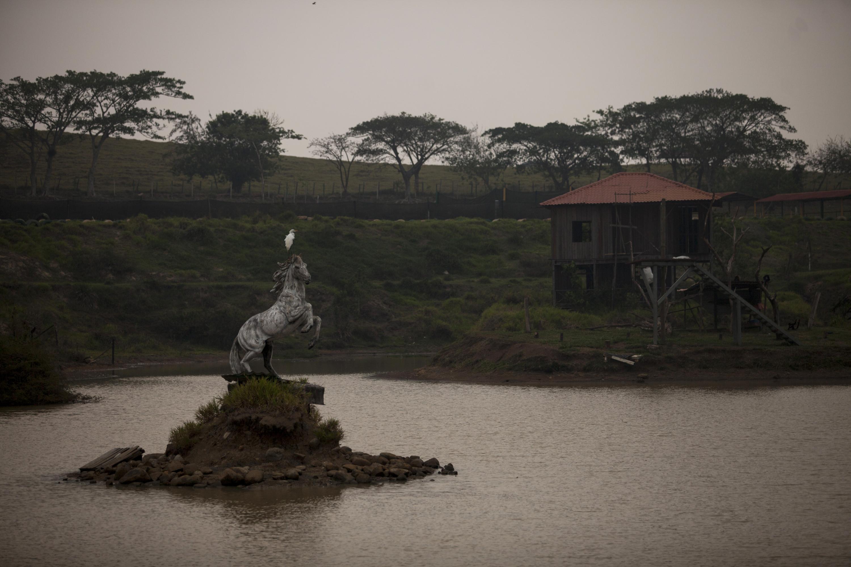 La escultura de un caballo que relincha decora el islote que se erosiona a pedazos en medio de la laguna. Foto de El Faro, por Víctor Peña.