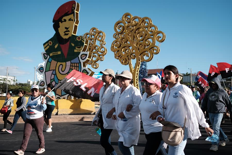 FSLN supporters march in Nicaragua. Photo from Confidencial.
