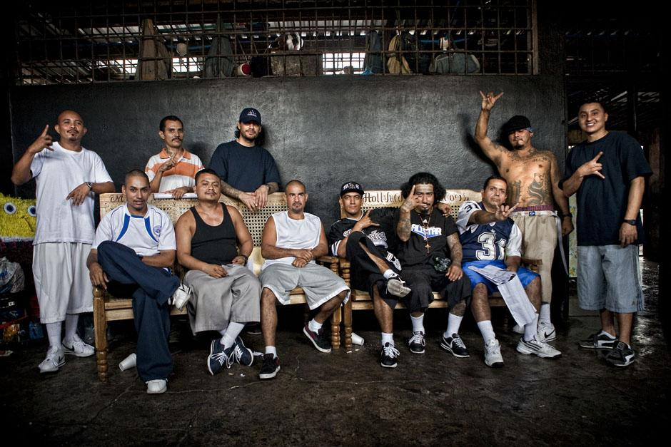 Leaders of the MS-13 street gang in the Ciudad Barrios prison in 2012. The gang's supposed chief executive, Marvin Ramos Quintanilla, is on the far right, and its senior national leader, Borromeo Henríquez Solórzano, known as El Diablito de Hollywood, is seated and wearing a black cap. Paul Coll/Ruido Photo