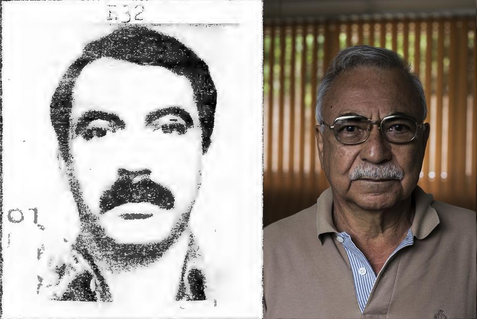Héctor Bernabé Recinos antes y después. A la izquierda, la foto de su ficha